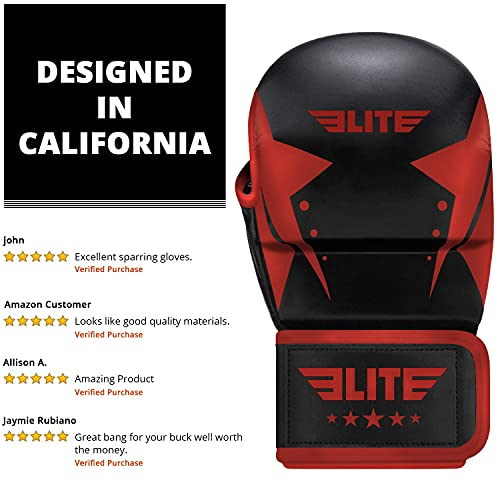 MMA Grappling Training Sparring Mitts Gloves, Elite Sports Best MMA Gloves for Grappling Martial Arts (Black/Red, Small/Medium)
