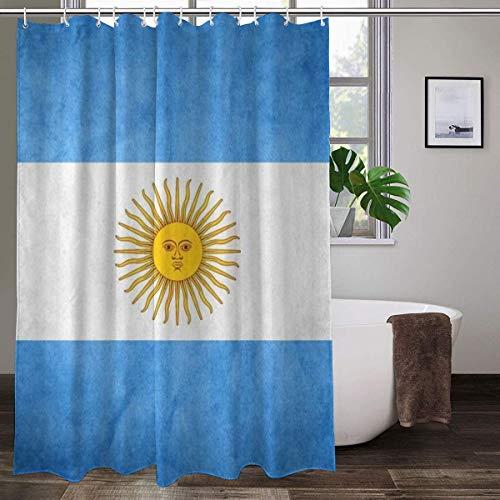 Cortina de ducha de tela con 12 ganchos,Cortina decorativa de baño con impresión de bandera de Argentina, lavable a máquina, 183 x 183 cm