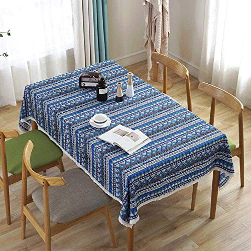 DAGUAI Tablecloth Table Runner Bohemian Style Cotton And Linen Striped Tablecloth Hotel Table Cloth 140x140cm