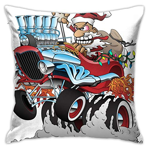 Hot Rod Santa Christmas CarPersonalizado de dibujos animados de Navidad Sofá de la manera cuadrada, dormitorio, oficina 45.72 cm x 45.72 cm
