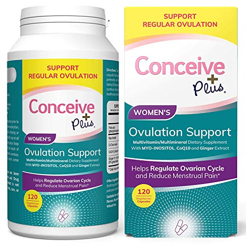 Conceive Plus Myo-Inositol & D-Chiro Inositol (30-Day Supply) – Ovulation & Fertility Capsules for Women - Healthy Hormone Balance, PCOS & Ovarian Support with Folic Acid - 120 Capsules