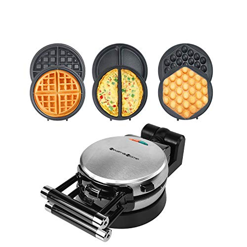 Health and Home 3 Interchangeable Baking Plates for Making waffles, Eggette, Omelet, Upgrade 360 Rotating Belgian Multifunction Nonstick Baking Maker