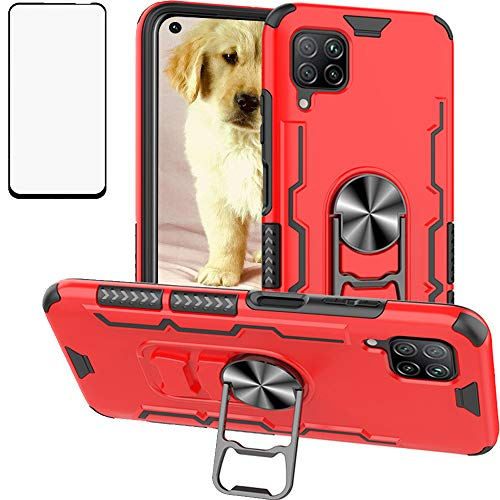 Luosunstar for Huawei P40 Lite/Nova 6 SE/Nova 7i Case & Tempered Glass Screen Protector,Metal Ring Bottle Opener Kickstand Rugged Armor Heavy Duty Anti-Scratch Dual Layer Shockproof Case,Red