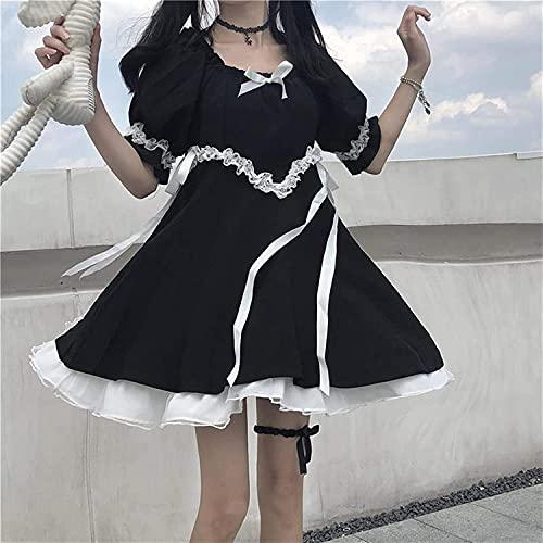 Lolita-jurken met pofmouwen, Japanse zomer Gothic Mooie zachte meisjes Zwarte jurk Vintage vierkante kraag Leuke kanten strik Zoete ruches Puff-mouwen Lolita-jurken