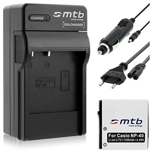 Batería + Cargador (Coche/Corriente) para Casio NP-40 / Exilim EX-FC150, P600, P700, Z400, Z750, Z1200. - Ver Lista!