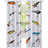 Cortinas opacas impresas, varios objetos de anzuelo de pescado, actividades de recolección de redes de pesca, cortinas de 52 x 72 para guardería, multicolor