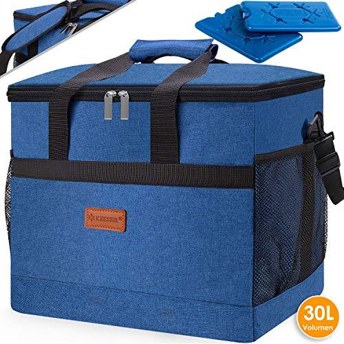 Kesser® 30L Kühltasche faltbar Groß Schultergurt Kühlkorb Kühlbox Isoliertasche Thermotasche Picknicktasche für Lebensmitteltransport Lunchtasche Isoliert für Aufbewahrung von Wärme und Kälte Blau