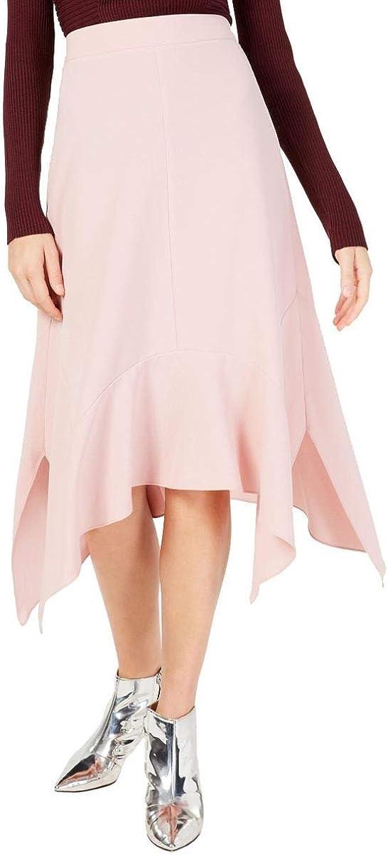 INC Women's Solid Handkerchief-hem Crepe A-Line Skirt