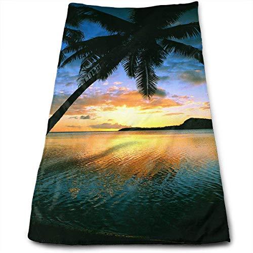 Tyueu Sunset Beach 100% algodón, resistente a la decoloración, altamente absorbente, lavable a máquina, calidad del hotel, toalla suave y absorbente