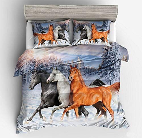 Funda de edredón con diseño de 3 caballos para cama de matrimonio tamaño king size 3D con estampado de caballo suave y transpirable...