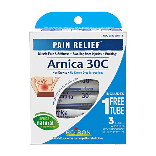 ARNICA FOR PAIN: This homeopathic medicine helps temporarily relieve muscle pain & stiffness due to minor injuries, overexertion & falls. Also great for pain, swelling, & discoloration from bruises. EASY TO TAKE: Arnicare pellets provide general pain...