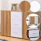 MIADOMODO Kommode mit 3 Schubladen und 2 Fächer - 120/80/40 cm, mit viel Platz, in den Farben Eiche oder Weiß - Sideboard, Schubladenkommode, Highboard, Mehrzweckschrank, Standschrank