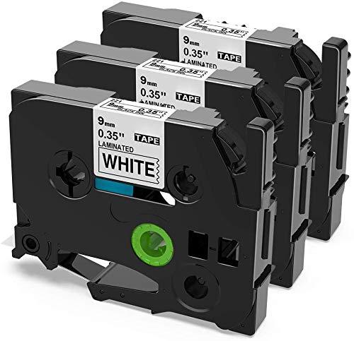 Unistar kompatibel Schriftband als Ersatz für Brother TZe 9mm P-touch TZe-221 TZe221 Laminated Black on White Tape für Brother P-Touch D400 1010 H100LB/R H105 E100/VP D200/BW/VP D210/VP, 3er-Pack