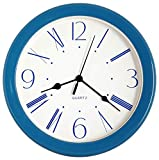 JUSTIME 8.5-inch Unique Modern Plastic Decorative Wall Clock, Water Resistant, Special for Small Space, Office, Boats, RV (W86030-B-BL Blue)