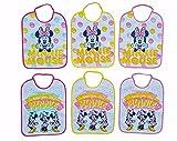 Ellepi Baberos grandes de Disney para recién nacido, de algodón y rizo impermeables con parte trasera de PVC, con diseño de Minnie Mouse Minnie. L