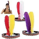 HOWAF 3 Piezas Diadema India Tocado Cinta de Cabeza con Plumas Disfraz Accesorios para Mujeres niñas Hombres, Multicolor, Tamaño único