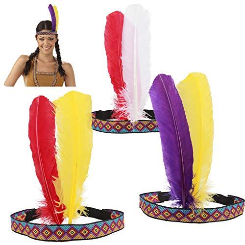 HOWAF Indianer Kopfschmuck Damen Indianer Stirnband Federschmuck Indianer Haarband Haarschmuck Unisex-Erwachsene für Karnevals kostüme Zubehör Indianerkostüm...