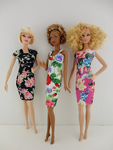Set of 3 Cocktail Dresses We Call Floral Fantasy Made to Fit Barbie Doll