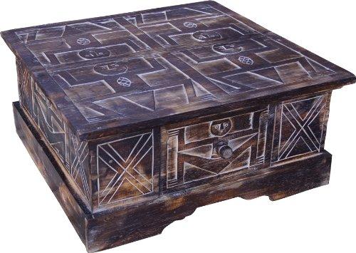Guru-Shop Handgesneden Vloertafel, Salontafel, Balsa-houten Kist, Bruin, Balsahout, 27x60x60 cm, Salontafels Vloertafels