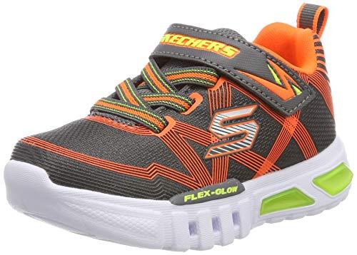 Skechers Felx-Glow, Zapatillas Niños, Gris (CCOR Black Textile/Synthetic/Blue & Lime Trim), 22 EU