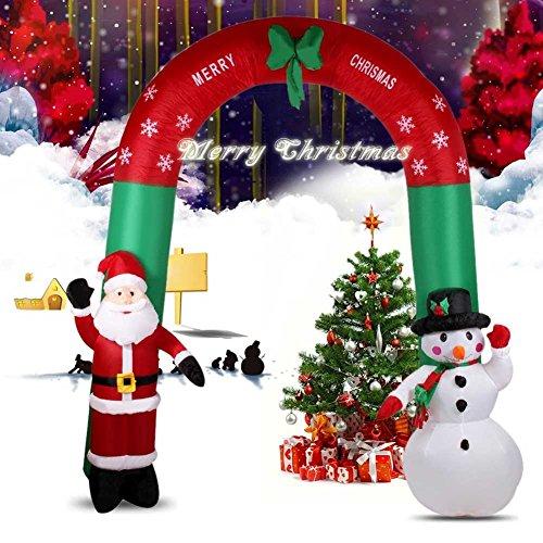 BAKAJI Gonfiabile Arco Natalizio con Babbo Natale E Pupazzo di Neve con Luci 240CM