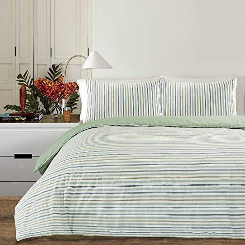 Nimsay Home Chambray Woven Elegant Multi Stripe Quilt Duvet Cover Set Reversible Yarn Dyed Polycotton Bedding Set (Pattern 16, King Duvet Cover Set)