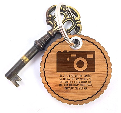 Mr. & Mrs. Panda Taschenanhänger, Anhänger, Rundwelle Schlüsselanhänger Kamera mit Spruch - Farbe