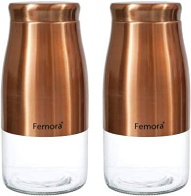 Femora Clear Glass Gold Metallic Steel Glass Jars Tea Sugar Jar Container Cereal, Spices, Pulses Container Spice Jar for Kitchen Storage 1750 ml/gm - Set of 2