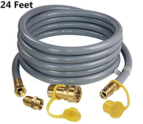 """DOZYANT 24 Feet 1/2 ID Natural Gas Hose, Propane Gas Grill Quick Connect/Disconnect Hose Assembly with 3/8"""" Female Flare by 1/2"""" Male Flare Adapter for Outdoor NG/Propane Appliance Connectors Grill Hoses"""