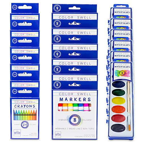 Color Swell Art Mixed Pack (6 Washable Markers, 6 Watercolor Paints, 6 Crayons) Perfect for Families, Classrooms, and Parties