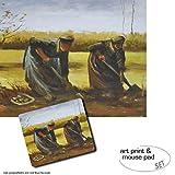 1art1 Vincent Van Gogh, Dos Campesinas Sacando Patatas, 1885 1 Póster Impresión Artística (50x40 cm) + 1 Alfombrilla para Ratón (23x19 cm) Set Regalo