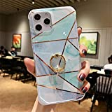 Sitthyw Funda para iPhone X, iPhone XS, diseño de mármol, con soporte de 360 grados, suave TPU a prueba de golpes, brillante, anillo de diamante, soporte para dedos, protección antigolpes, para niñas