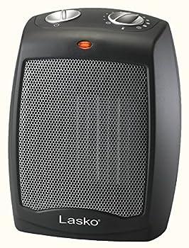 Lasko CD09250 Ceramic Adjustable Thermostat Tabletop or Under-Desk Heater 9 Inches High Black