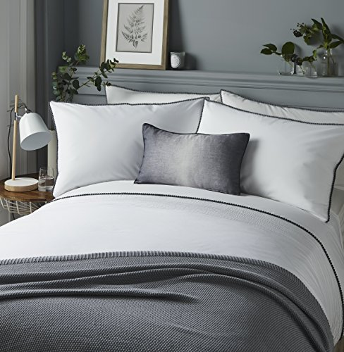 Serene - Pom Pom - Easy Care Duvet Cover Set | King Size | White Bedding with Grey Pom Poms