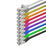 0,5m - 10 couleurs - 10 pièces - CAT5 FTP Câble Ethernet Set - Câble Réseau RJ45 | câble de Patch | LAN Câble |CAT 5e |125 MHz | compatible avec CAT 6 / CAT 6a / CAT 7 | pour le switch, routeur, modem, Patchpannel, point d'accès, panneaux de brassage