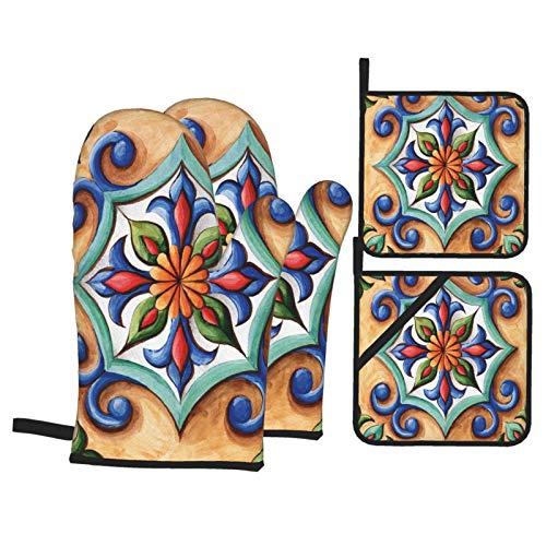 Guanti da Cucina Resistenti al Calore e Set di Presine Ornamento dell'acquerello della maiolica delle mattonelle di ceramica di progettazione Adatti per Cottura,Cottura al Forno,Grigliate