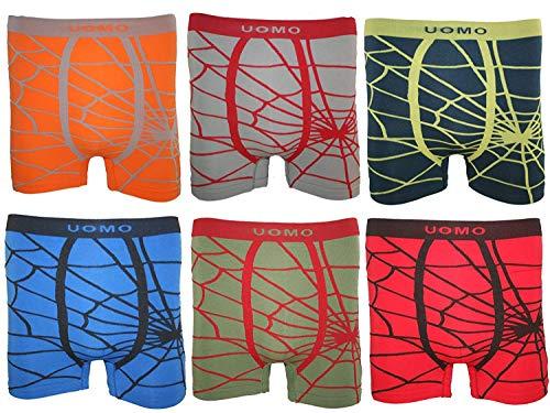 BestSale247 12 Stück Kinder Jungen Boxershorts Unterhosen Kids Unterwäsche Mikrofaser 98 bis 164 (128-146, Spinnennetz)