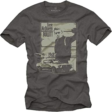 MAKAYA Camiseta Negra Hombre - Bullitt: Amazon.es: Ropa y accesorios
