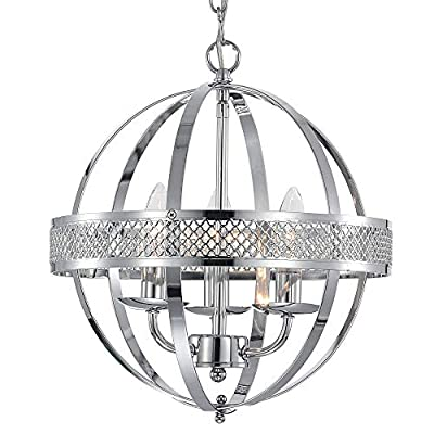 MO&OK chandelier industrial globe chandeliers lights 3-light Chrome lighting fixture