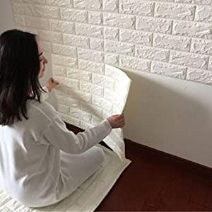 FAMILIZO PE de Espuma de 3D Wallpaper DIY Pared Pegatinas Decoración de Pared en Relieve Piedra de ladrillo (60_x_60_cm, Blanco)