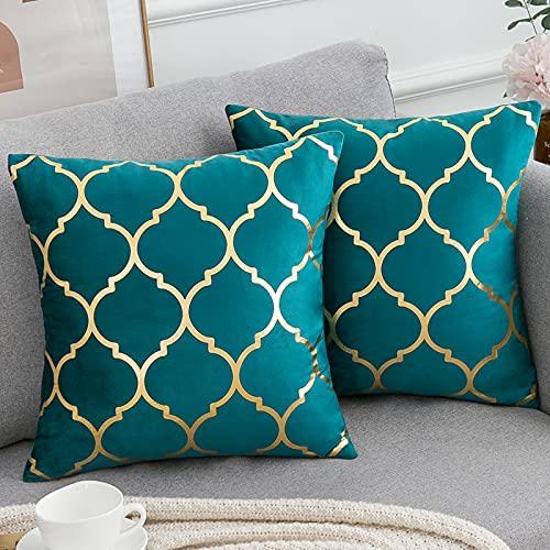Decorative Cushion Covers Moroccan Quatrefoil Geometric Bronzing Printed...