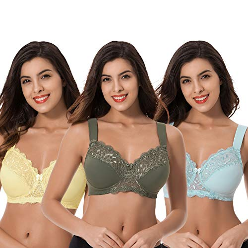 Curve Muse Plus Size Unlined Minimizer Wireless Bras with Embroidery Lace-3Pack-HUNTER Green,Yellow,Light BLUE-34DDDD