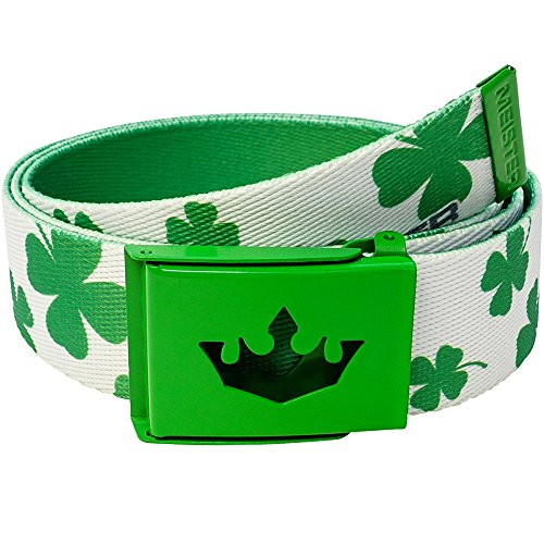 Meister Player Golf Web Belt - Adjustable & Reversible - Lucky Clovers
