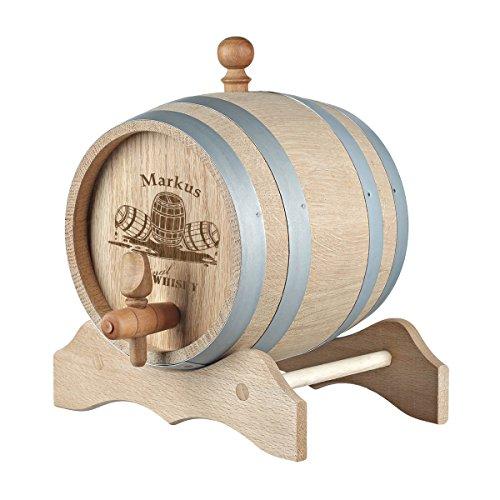 polar-effekt 5 Liter Holzfass Personalisiert mit Namens-Gravur - Individueles Geschenkidee zum Geburtstag - Eichen-Fass für Whisky oder Wein - Motiv Whiskyfass