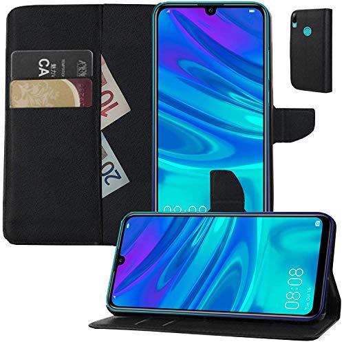 MOELECTRONIX Hülle passend für Huawei Y7 2019 Dual SIM DUB-L21 Buch Tasche Klapp Schutz Hülle Wallet Flip Hülle Etui SCHWARZ