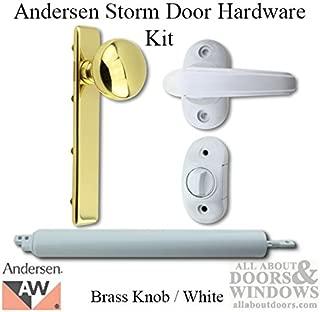 Andersen/Emco Storm Door Hardware Kit - Brass Knob Exterior, White Interior