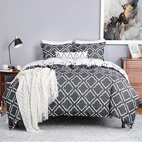 Bedsure Bettwäsche 135X200 Mikrofaser 2 teilig - dunkelgrau Bettbezug Set mit Gitter Muster, weiche Flauschige Bettbezüge mit Reißverschluss und 1 mal 80x80cm Kissenbezug