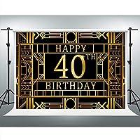 HDJSCTWCLハッピー40歳の誕生日の背景狂騒の20年代のギャツビーをテーマにした大人の誕生日パーティー10x7ftケーキテーブル用品のフォトブースバナー1012