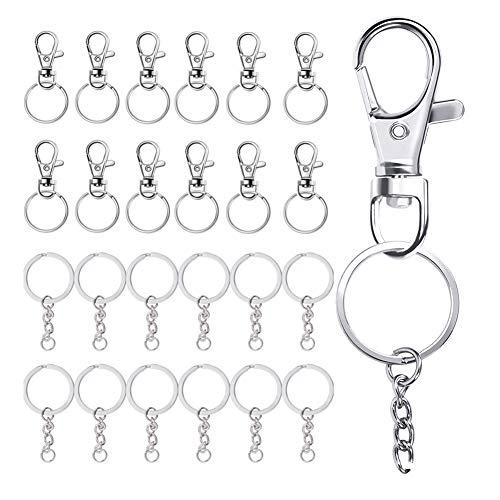 20 llaveros giratorios para llaveros con cadena BETOY mosquetón con llavero desmontable con hebilla y anillo para la llave de coche – (plata)