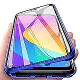 Funda para Xiaomi Mi A3 Adsorcion Magnetica Carcasa 360 Grados Protección Estuche Doble Untre Delgada Vidrio Templado Marco Aluminio Anti Choque Metal Flip Cover